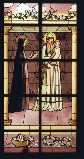 Stock Photo: 1788-24150 Presentation of Jesus to Temple, stained glass window by Maurice Denis (1870-1943)