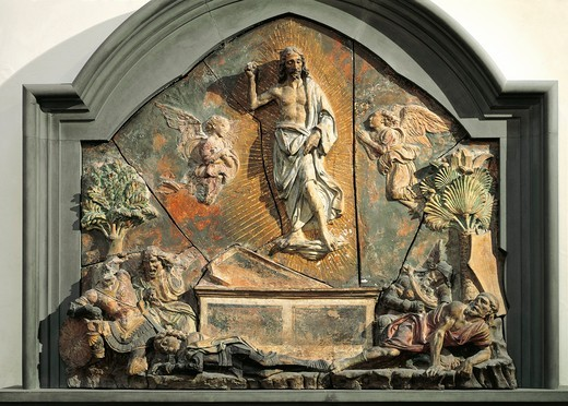 Stock Photo: 1788-24245 Resurrection of Christ, polychrome terracotta relief by Andrea del Verrocchio