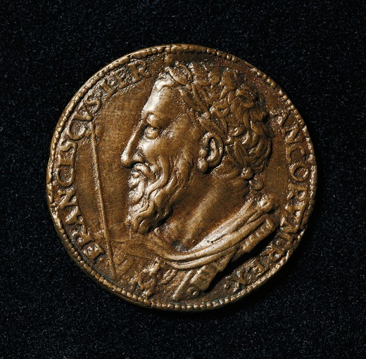 Medal portraying King Francis I of France (Cognac, 1494, Rambouillet, 1537) by Benvenuto Cellini (1500-1571) : Stock Photo