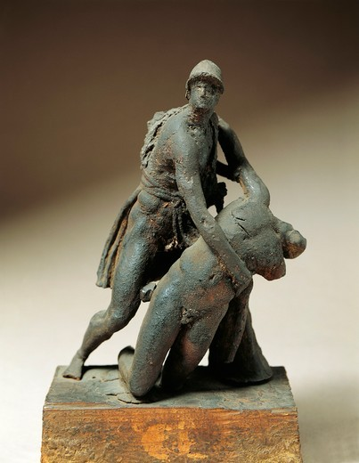 Italy, Florence, wax statuette of Menelaus supporting the body of Patroclus : Stock Photo