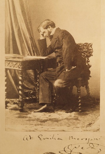 Italy, Milan, photograph of Italian composer Giuseppe Verdi (1813-1901) with autograph dedication : Stock Photo