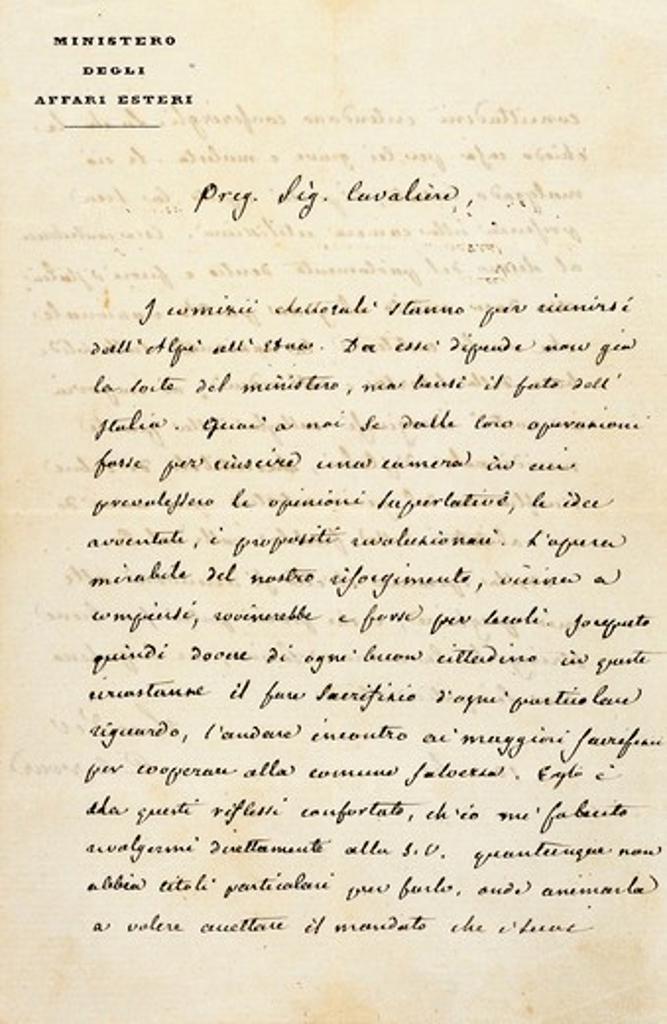 Stock Photo: 1788-24343 Italy, sant'agata di villanova sull'arda, Letter from statesman Camillo Benso count of Cavour (1810 - 1861) to composer Giuseppe Verdi (1813-1901)