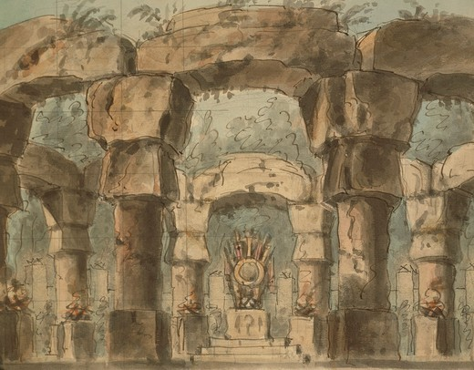 Stock Photo: 1788-24467 Italy, Venice, Set design for Norma by Vincenzo Bellini for performance at Teatro La Fenice in Venice
