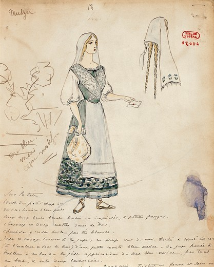 France, Paris, Sketch of costume for Michaela for Carmen by Georges Bizet : Stock Photo