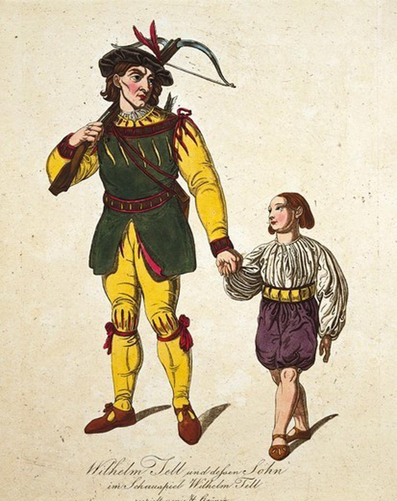 Austria, Vienna, Costume sketch for Guillame and his son in William Tell by Gioacchino Rossini : Stock Photo
