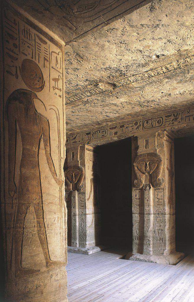 Egypt. Nubian monuments at Abu Simbel (UNESCO World Heritage List, 1979). Dedicated to goddess Hathor Temple of Nefertari. Pronaos : Stock Photo