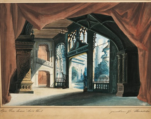 Stock Photo: 1788-24598 Austria, Vienna, set design sketch for Don Giovanni or the rake punish'd, Act four, scene one