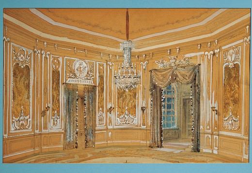 Austria, Vienna, set design for performance Thus Do They All, or The School For Lovers, by Heinrich Lefler : Stock Photo