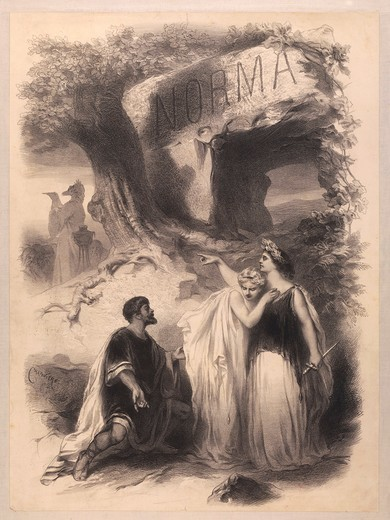 France, Paris, poster for performance Norma at Chateau d'Eau Theatre : Stock Photo