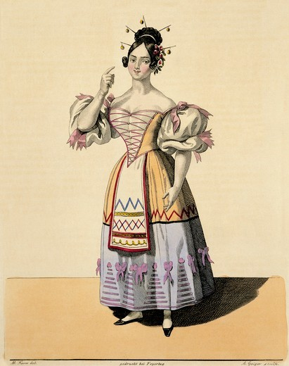 Austria, Vienna, Costume sketch for Adina for opera L'elisir d'amore (Elixir of Love) performed by Erminia Tadolini, 1833 : Stock Photo