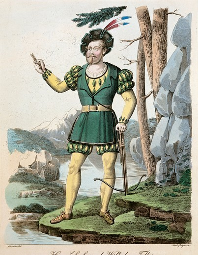 Stock Photo: 1788-24674 Austria, Vienna, Costume sketch for Guillaume Tell (Schober) for Performance at Vienna, 1833