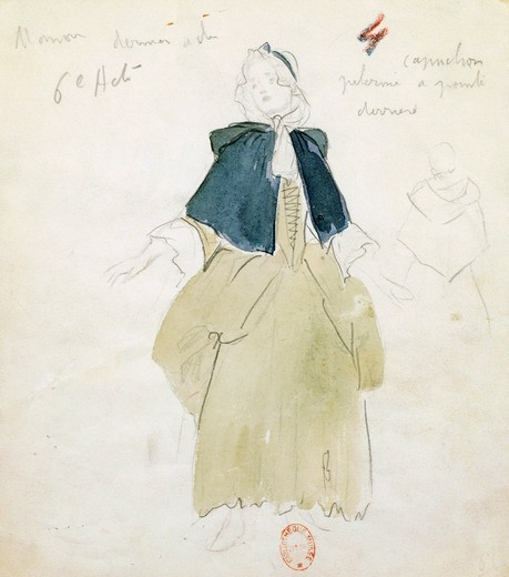 Stock Photo: 1788-24686 France, Paris, Costume sketch for Manon for act V in opera Manon by Jules Massenet (1842-1912), performance at Paris Opera Comique, January 28, 1950