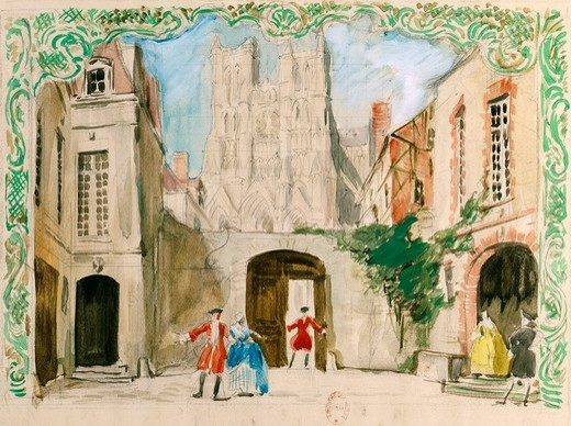 France, Paris, inn courtyard at Amiens, Set design for Act I in opera Manon by Jules Massenet (1842-1912), performance at Paris Opera Comique, January 28, 1950 : Stock Photo