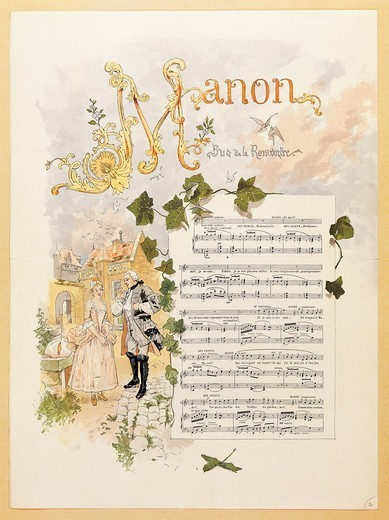 France, Paris, inn courtyard at Amiens, Illustrated score for Act I in opera Manon by Jules Massenet (1842-1912) : Stock Photo