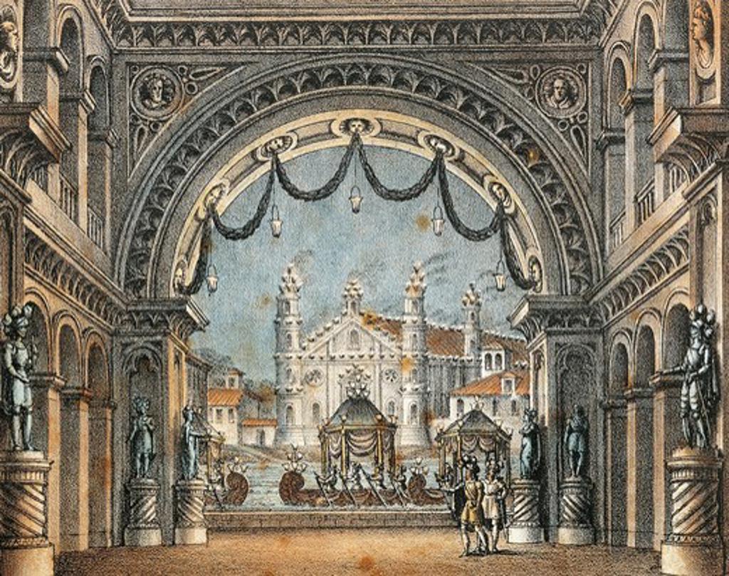 Italy, Catania, Entrance hall of Castle of Montolino, set design for opera La straniera (Stranger) by Vincenzo Bellini (1801 - 1835),performance at the Teatro alla Scala, Milan, Carnival 1829 : Stock Photo