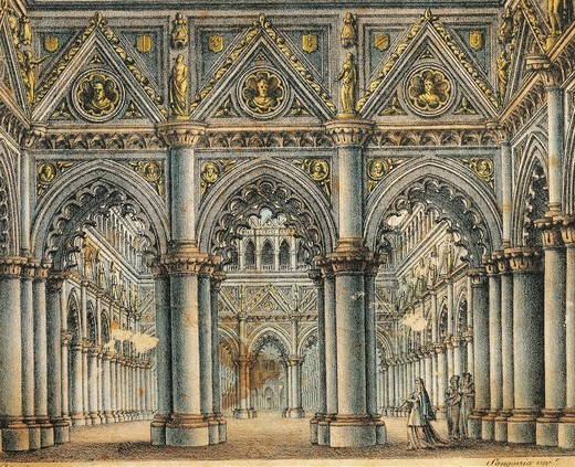Italy, Catania, hall in Capellio's Palace, set design for opera I Capuleti e i Montecchi (Capulets and tMontagues) by Vincenzo Bellini (1801 - 1835) : Stock Photo