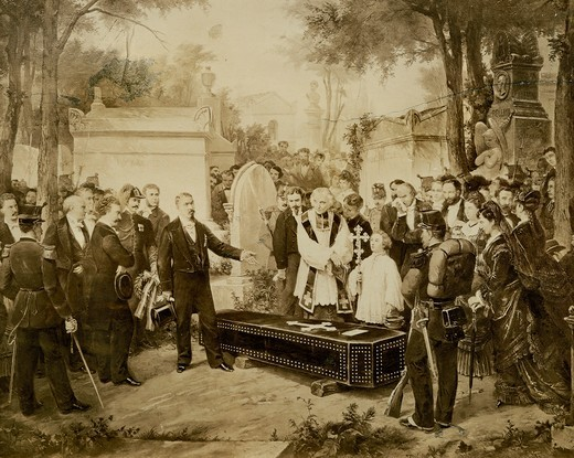 Stock Photo: 1788-24721 Italy, Catania, transportation of body of Italian composer Vincenzo Bellini from Paris to Catania, body is consigned from French to local authority, September 15, 1876