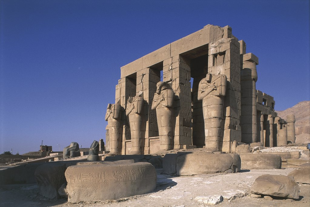 Stock Photo: 1788-2494 Egypt - Ancient Thebes (UNESCO World Heritage List, 1979). Valley of the Kings. Funerary temple of Ramses II 'Ramesseum'. Figures of Osiris at inner court pillars