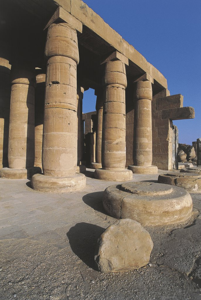 Stock Photo: 1788-2497 Egypt - Ancient Thebes (UNESCO World Heritage List, 1979). Valley of the Kings. Funerary temple of Ramses II 'Ramesseum'. Hypostyle hall