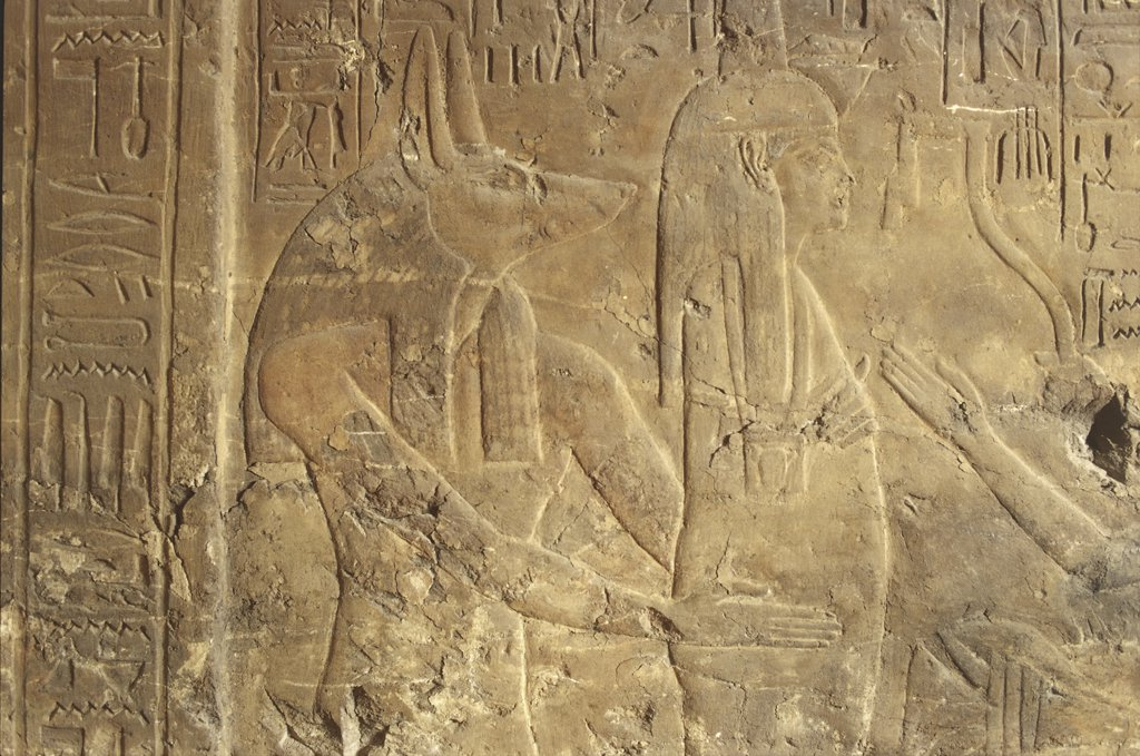 Stock Photo: 1788-2557 Egyptian Civilization. Tomb of Maya, wet nurse to Tutankhamen. Detail of bas-reliefs from Saqqara