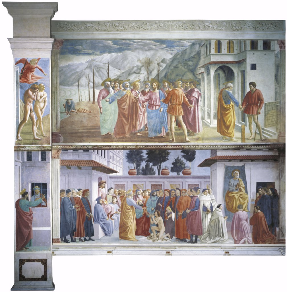 Italy - Tuscany region - Florence - Santa Maria del Carmine - Brancacci Chapel. Masaccio (1401–1428) and Filippino Lippi (c. 1457-1504), fresco, digital reconstruction : Stock Photo