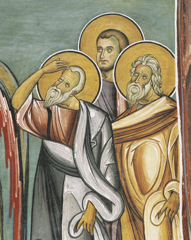Stock Photo: 1788-2565 Three people in a church, Panagia too Araka, Bizantine, Troodos Mountains, Cyprus