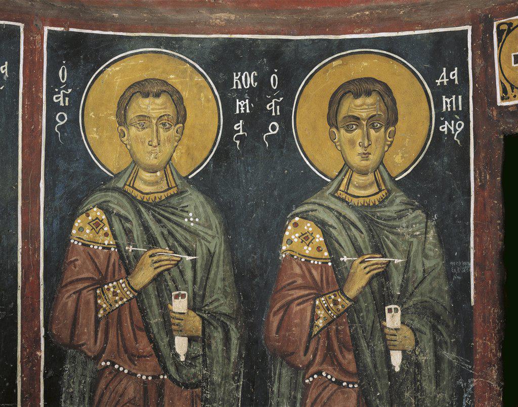 Paintings of St. Cosmas with St. Damian, Panagia Ties Asinou Church, Nikitart, Cyprus : Stock Photo