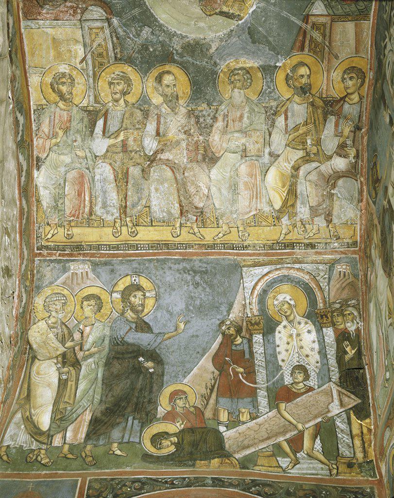 Cyprus - Troodos Mountains. Bizantine Church of Panayia tis Asinou (UNESCO's World Heritage Site, 1985, 2001). 12th century. Agroup of Apostles and the Resurrection of Lazarus. Fresco 1105-06 : Stock Photo