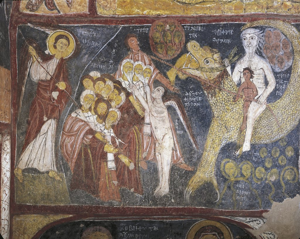 Turkey - Cappadocia. Gülsehir. St. John's Church 'Karsi Kilise'.  Last Judgment. Byzantine fresco, detail, 1212. Reigning Nicaean emperor Theodor I Lascaris : Stock Photo