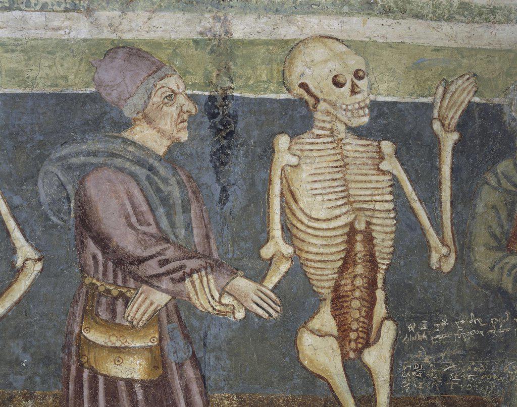 Slovenia - Hrastovlje. Trinity Church. 'Dance of death. Death and doctor'. Fresco by Janez of Kastav, detail (1490) : Stock Photo