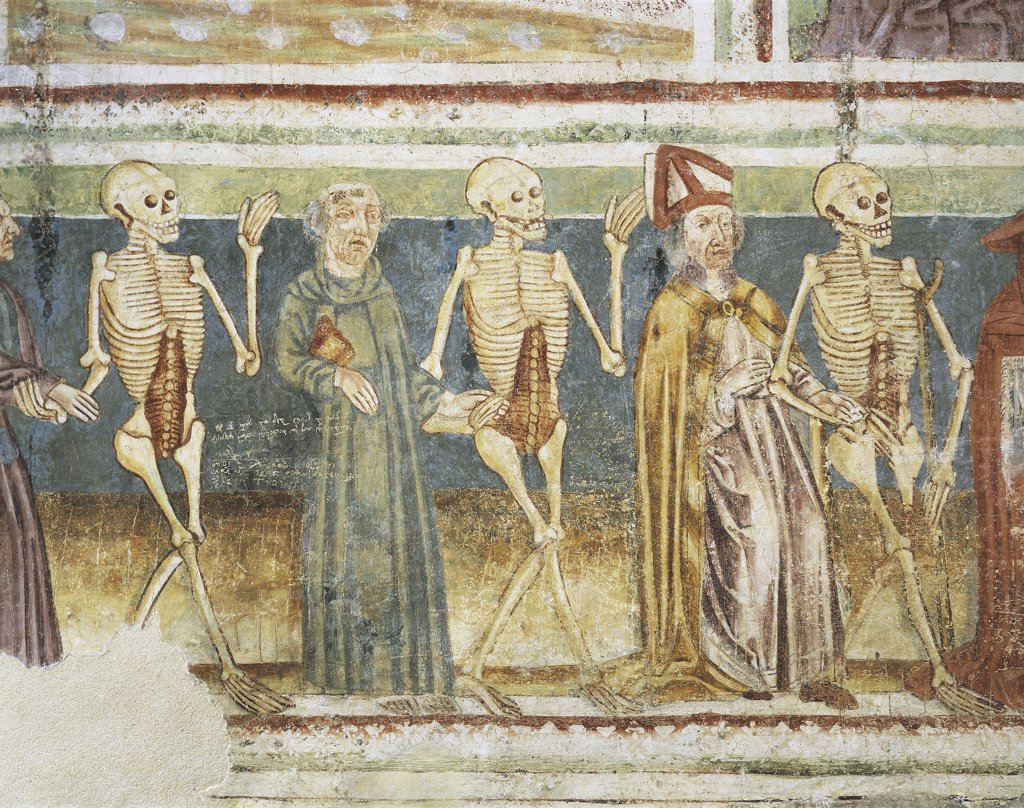 Slovenia - Hrastovlje. Trinity Church. 'Dance of death. Death, bishop and cleric'.  Fresco by Janez of Kastav, detail (1490) : Stock Photo