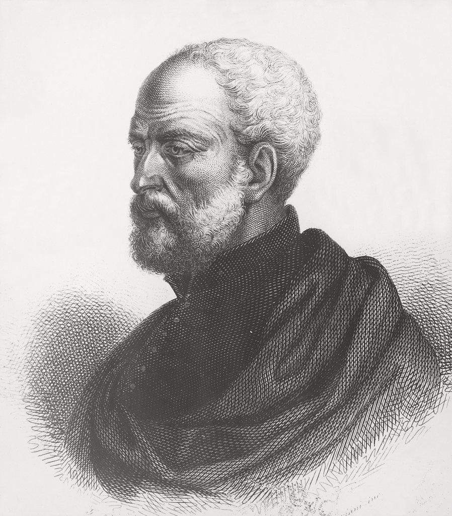 Italy - 16th century - Humanist, geographer and historian Giovanni Battista Ramusio (1485-1557). Engraving : Stock Photo