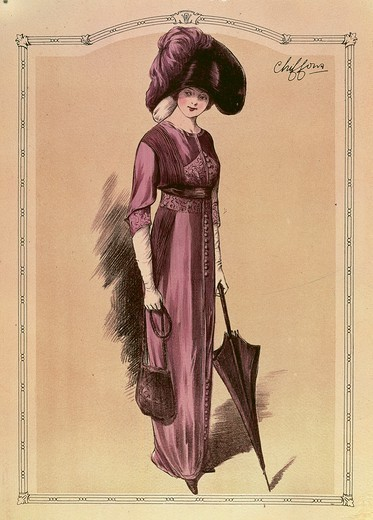 Fashion, France, 20th century. Women's fashion plate depicting walking dress in purple chiffon with coordinated headdress, parasol and  handbag. Paris, 1911. : Stock Photo