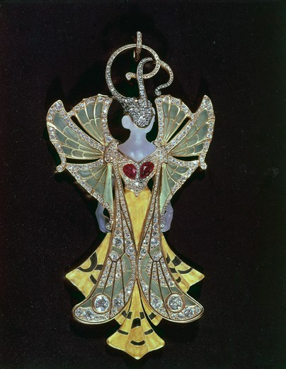 Stock Photo: 1788-26286 Goldsmith's art, 20th century. Henri (1853-1942) and Paul Vever (1851-1915), Liberty style enamelled gold, ivory, diamonds and pearls pendant. Presented at the Expo (World's Fair) in 1900.