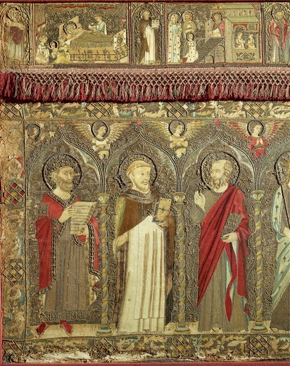 Stock Photo: 1788-26328 Jacopo Cambi (14th century), Frontal depicting the Coronation of the Virgin between eight angels and fourteen Saints, 1366, embroidered with silk and gold threads. Detail.