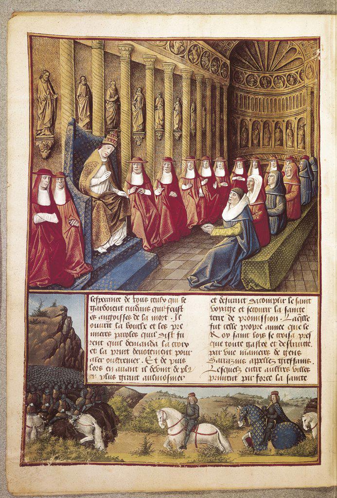 France - 15th century - Pope Innocent IV deposes excommunicated Emperor Frederick II. Lyon, 1245. Illuminated manuscript : Stock Photo