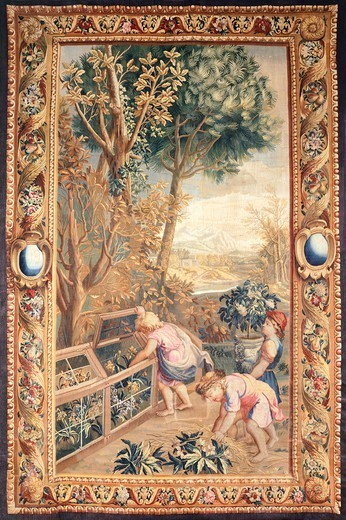 Stock Photo: 1788-26459 18th century Gobelins tapestry based on cartoons designed by Charles Le Brun depicting putti working in a garden.