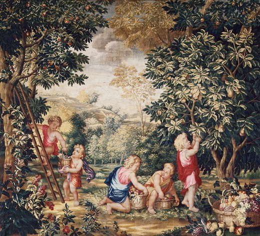 18th century Gobelins tapestry depicting putti working in a garden. : Stock Photo