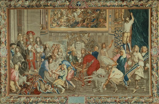 18th century tapestry by Lebrun featuring King Louis XIV visiting Gobelins Manufactory. : Stock Photo