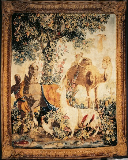 Stock Photo: 1788-26497 18th century Gobelins tapestry based on design by Francois Desportes depicting exotic animals and camel, from the series New Indias, 1737-41.