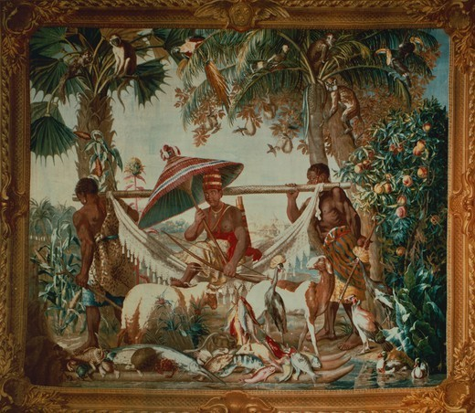 Stock Photo: 1788-26498 18th century Gobelins tapestry based on design by Francois Desportes depicting a King born by two Moors, from the series New Indias, 1737-41.