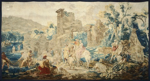 Stock Photo: 1788-26506 18th century Beauvais tapestry based on design by Francis Casanova depicting net fishing, from the series Rural Amusements, 1772-79.