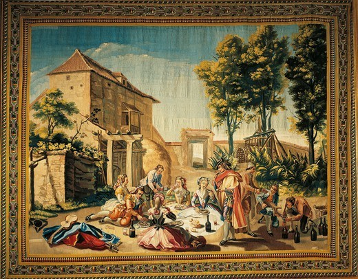Stock Photo: 1788-26517 A Picnic at the Cherry Tree Inn, 18th century tapestry based on a cartoon by Ramon Bayeu, manufacture of Santa Barbara.