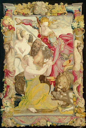 Stock Photo: 1788-26584 Justice Saves Innocence, 15th century Medicean allegorical tapestry, based on a cartoon by Bronzino.