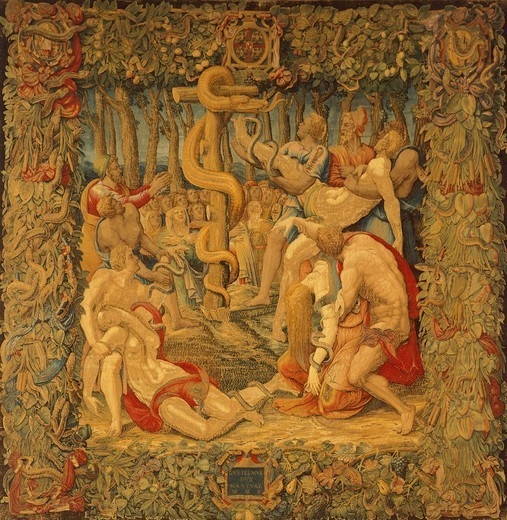 Stock Photo: 1788-26593 Moses and the Bronze Snake, 16th century tapestry by Flemish weaver Nicolas or Jan Karcher, based on a cartoon by Giulio Romano (1499-1546).