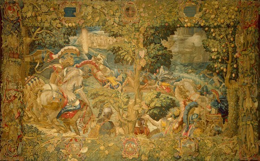 Stock Photo: 1788-26594 The Crossing of the Red Sea, 16th century tapestry by Flemish weaver Nicolas or Jan Karcher, based on a cartoon by Giulio Romano (1499-1546).