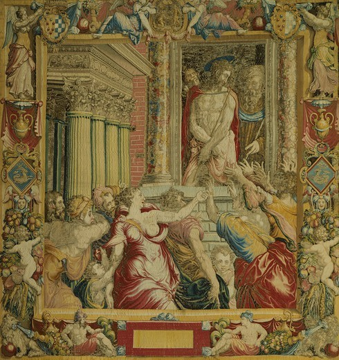 Ecce Homo, 16th century altar tapestry based on a cartoon by Francesco Salviati. : Stock Photo