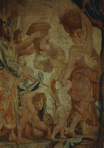 The Fall of Manna, 17th century tapestry based on a cartoon by Pieter Paul Rubens, manufacture of Brussels, from the series Triumphs and Figures of the Holy Sacraments. : Stock Photo
