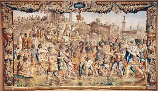 Stock Photo: 1788-26617 Triumph of Scipio, 17th century tapestry based on cartoons by Giulio Romano (1499-1546), manufacture of Brussels, from the series Stories of Scipio.