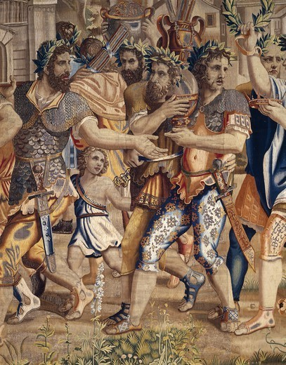 Stock Photo: 1788-26618 Triumph of Scipio, 17th century tapestry based on cartoons by Giulio Romano (1499-1546), manufacture of Brussels, from the series Stories of Scipio. Detail.